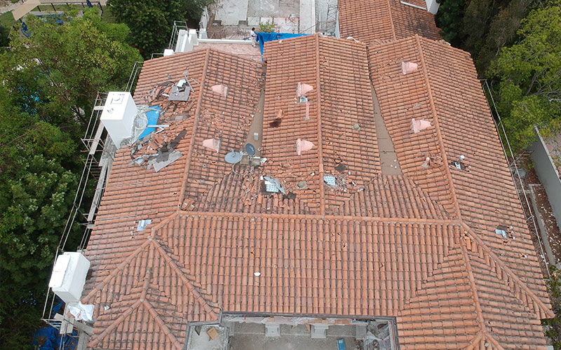 broken tile roof